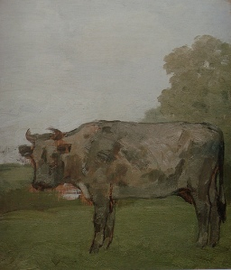 Albert York Grey Cow in Landscape with Pond