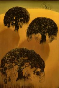 Eyvind Earle Three Oaks