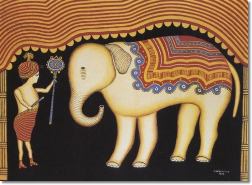 Morris Hirshfield Baby Elephant With Boy 1943