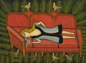 Morris Hirshfield Girl With Pigeons