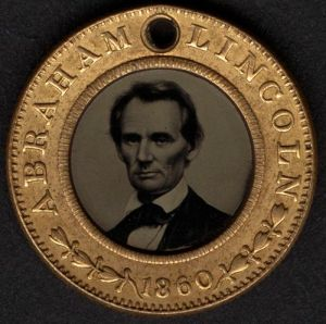 Abraham Lincoln Tintype Medallion  1860
