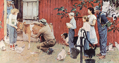 Norman Rockwell- Farm Family Scene