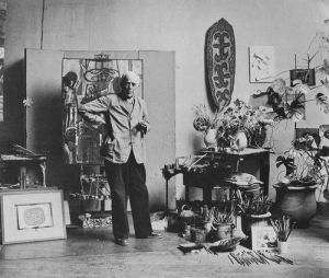 Artist Georges Braques in Paris studio 1948