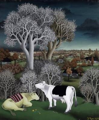 Ivan Generalic -Cows in a Landscape 1957