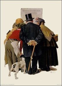 Norman Rockwell- People Reading Stock Exchange