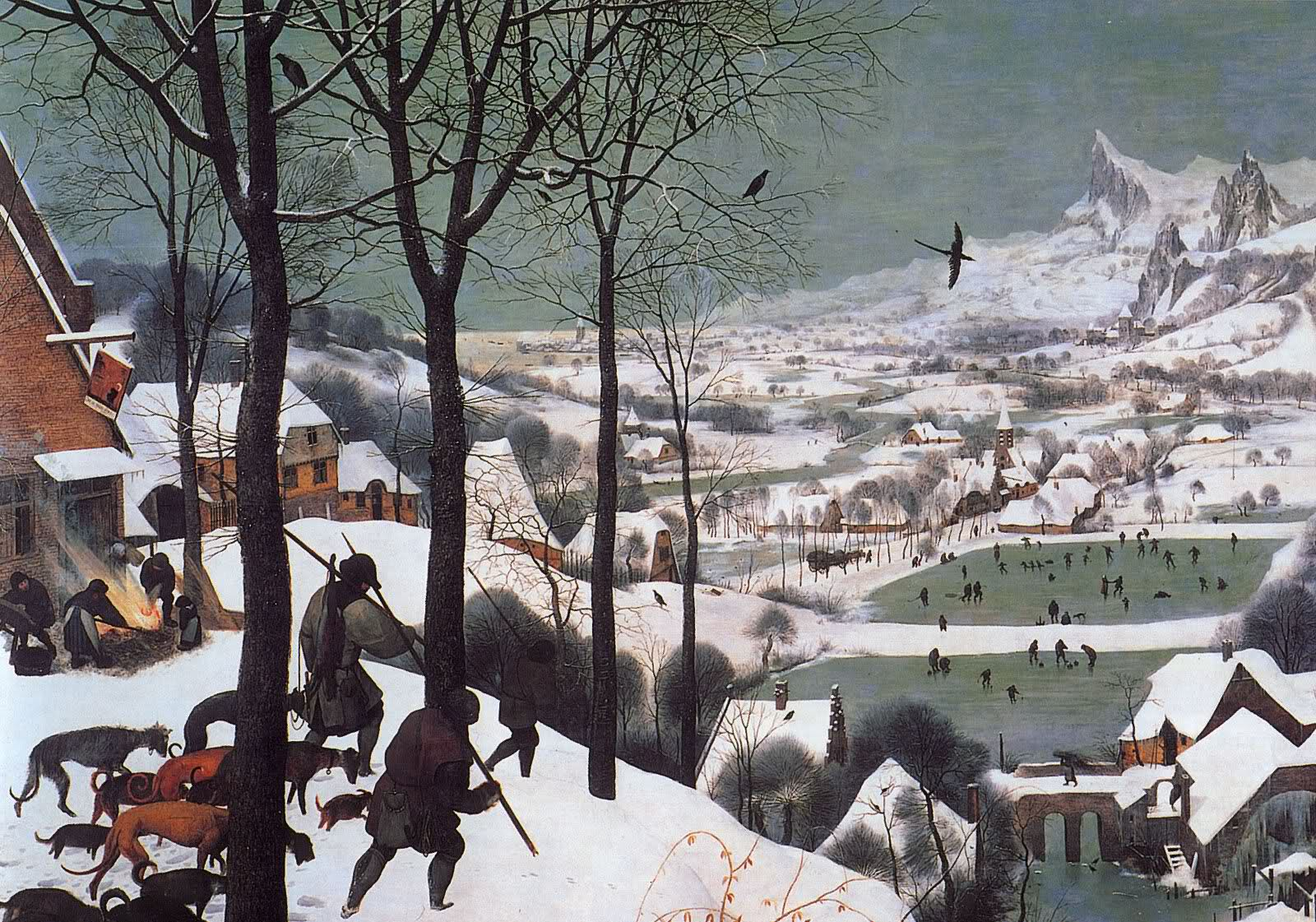 Bruegel, Pieter the Elder- Hunters in the Snow (Winter) 1565