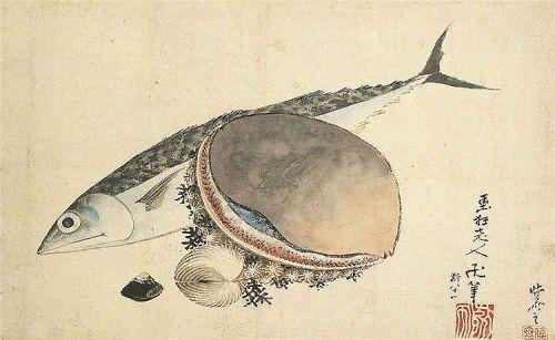 Hokusai Mackerel and Sea Shells 1840