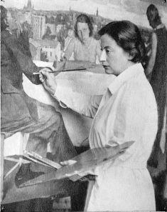 "Lotte Laserstein at work on ""Evening Over Potsdam"""