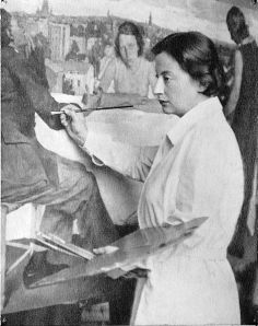 "Lotte Laserstein at work on ""Evening Over Potsdam"""
