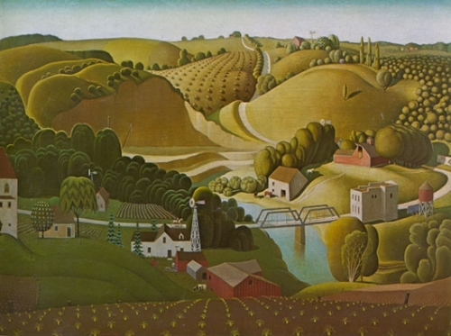 Grant Wood Stone City Iowa 1930