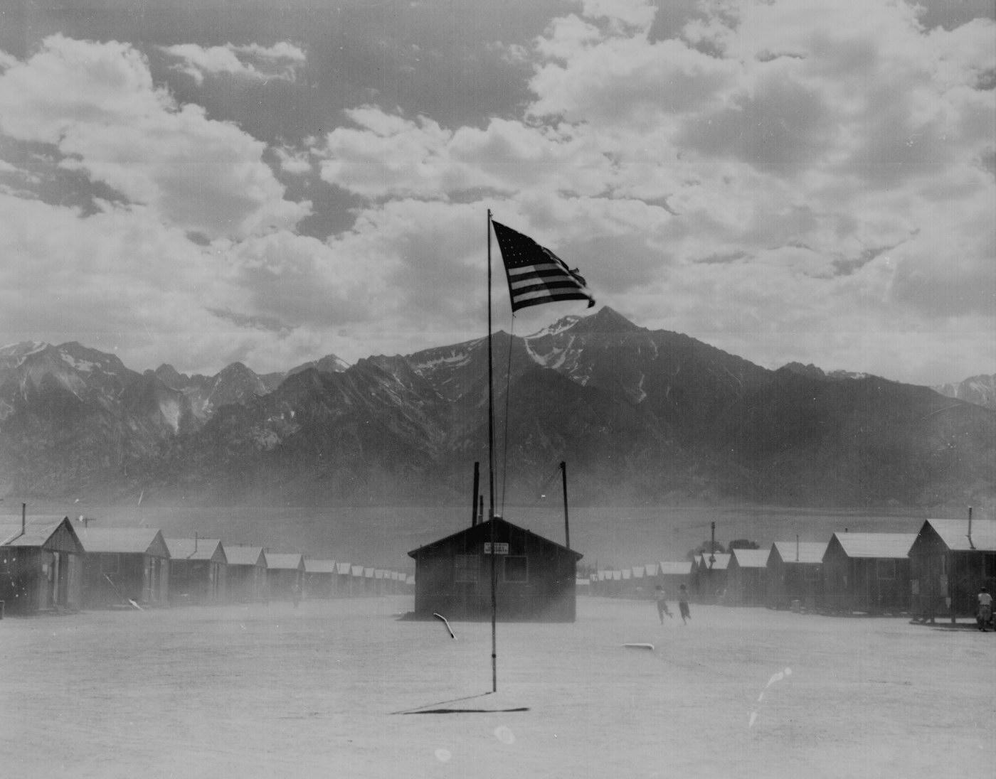 Dorothea Lange-  Flag  at Interment Camp at Manzanar CA