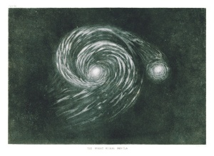 Drawing of M51 Whirlpool Galaxy Lord Rosse 19th Century
