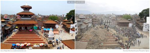 Maju Deval Temple, Kathmandu- Before and After  Earthquake