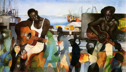 Edward Burra -Newport Docks 1971