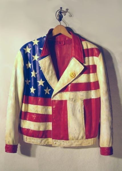 Fraser Smith American Jacket 2010 Carved Wood and Silk Dyes