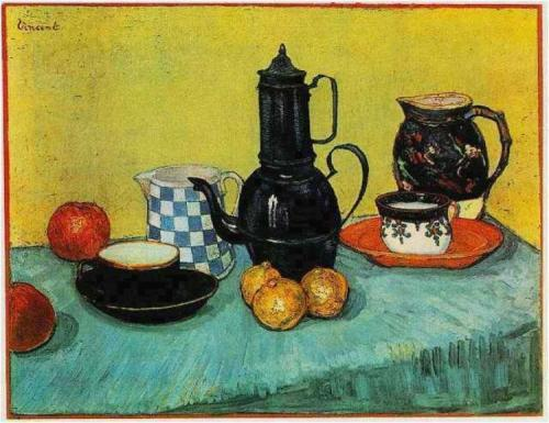 Van Gogh Still Life- Blue Enamel Coffeepot, Earthenware and Fruit 1888