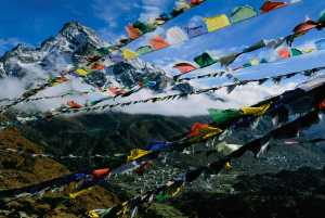 Prayer flags fly over the village of Khunde.