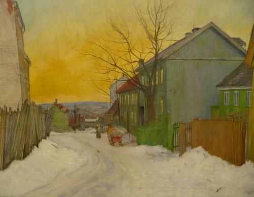 Harald Sohlberg-A Street in Oslo 1911