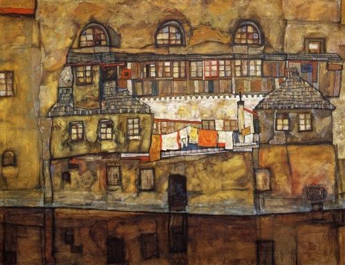 Egon Schiele Hauswand um Fluss