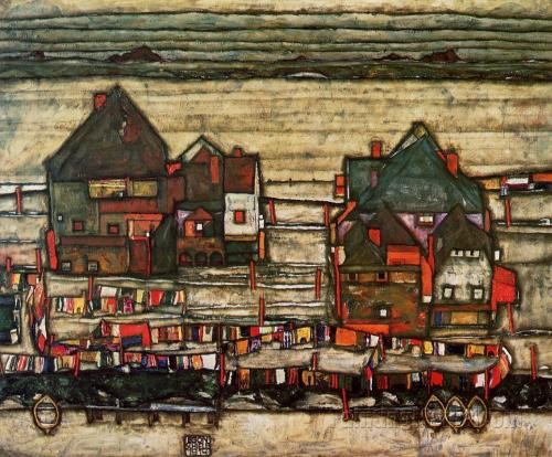 Egon Schiele Houses with Washed Clothes