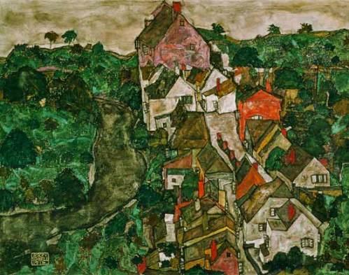 Egon Schiele -Landscape at  Krumau