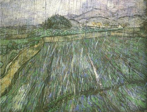 Vincent Van Gogh Wheat Field in Rain 1889