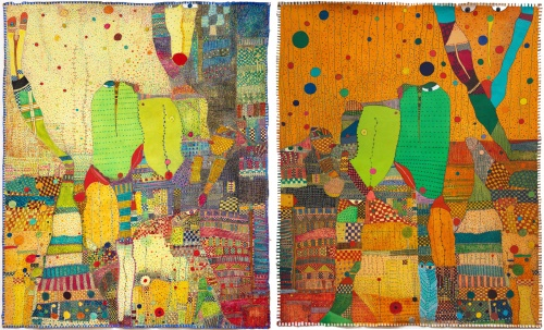 Hugette Caland-Rossinante Under Cover III diptych 51x84  mixed media on canvas 2011