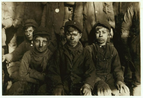 Group of Breaker boys. Smallest is Sam Belloma, Pine Street. (See label #1949). Location: Pittston, Pennsylvania.