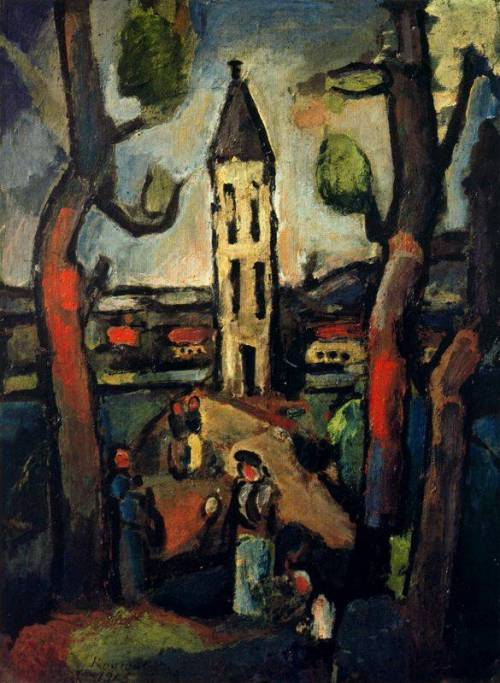 georges rouault- landscape with large trees