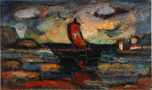 georges rouault- landscape with red sail 1939