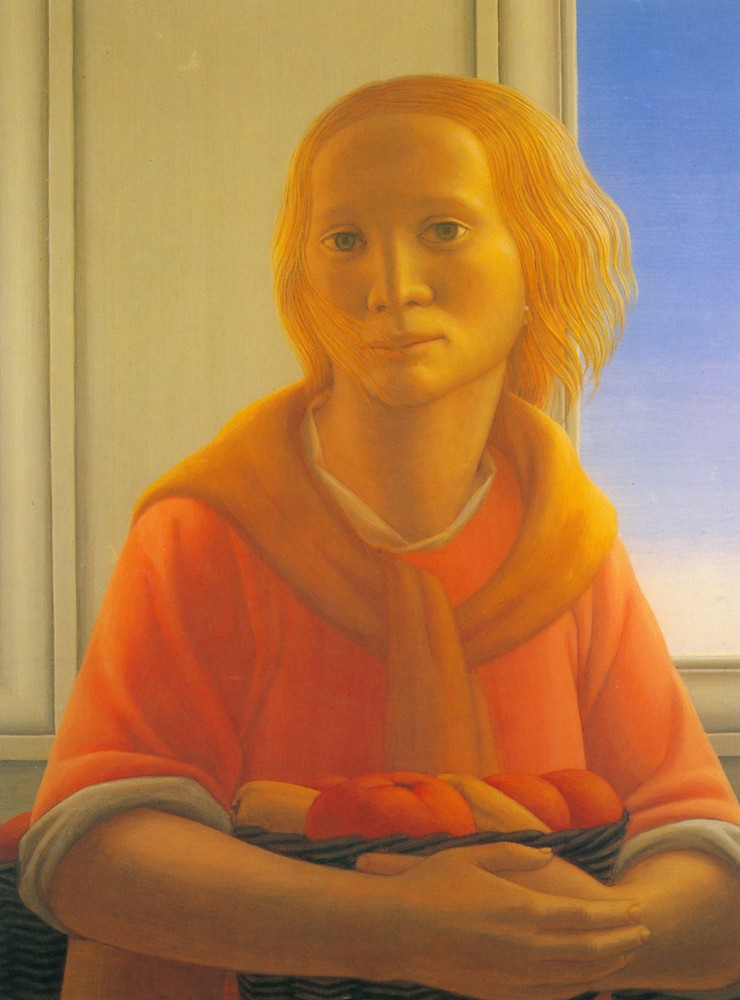 George Tooker - Girl-With-Basket-1987-8