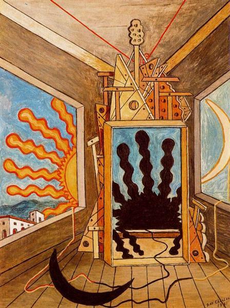 Giorgio de Chirico metaphysical-interior-with-sun-which-dies-1971