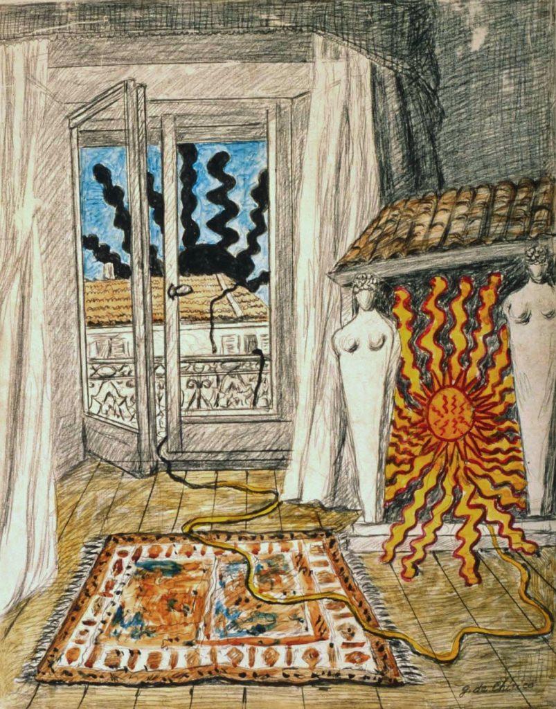 Giorgio de Chirico sole-sul-caminetto-1970